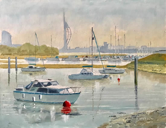 Forton Lake Boats, Portsmouth Harbour - Hampshire Art Gallery - Gosport Artist David Whitson