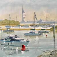Forton Lake Boats, Portsmouth Harbour – Hampshire Art Gallery – Gosport Artist David Whitson