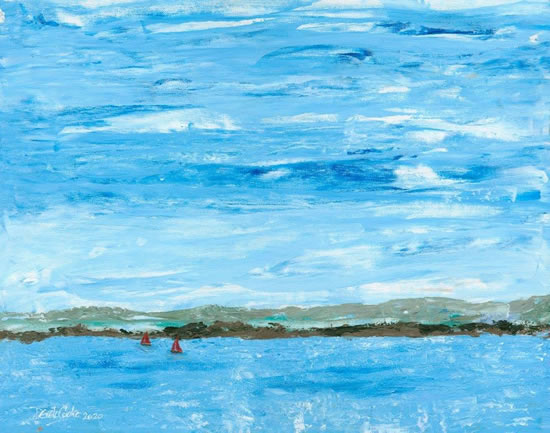 Hampshire South Downs From The Sea Landscape Painting - Art Prints