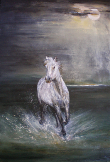 Horse in Sea Lit by Moonlight - Free Spirit by Ringwood Art Society Artist Jean Baylis