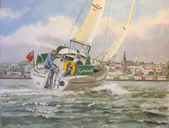 Isle of Wight Art Gallery - Yacht Grimaud sailing off Ryde - Oil Painting & Prints by Gosporth Hampshire Artist David Whitson