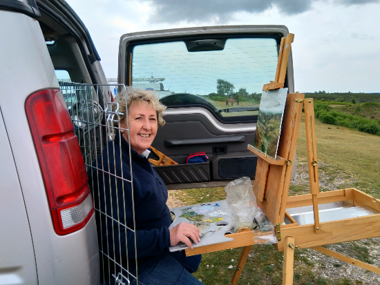 Jean Baylis - Artist at work - A cold day at Picket Post , Ringwood