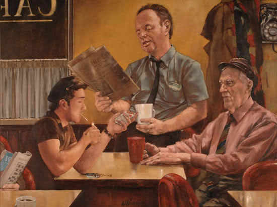 Late Night Cafe Scene - William Rochfort Artist in Oils