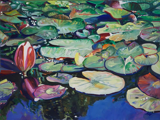 Lily Pond - Brockley End - Farnham Art Society Artist Nicholas Walsh