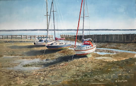 Low Tide - Boats at Titchfield Haven, Hill Head - Hampshire Art Gallery - Gosport Artist David Whitson