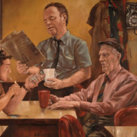 Men in Late Night Cafe – William Rochfort Artist in Oils