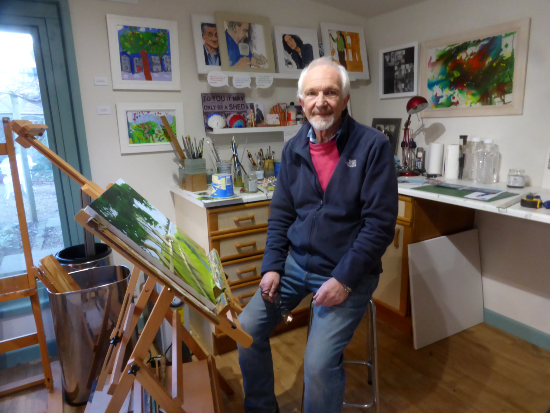 Mike Johnson at work in his Hampshire art studio