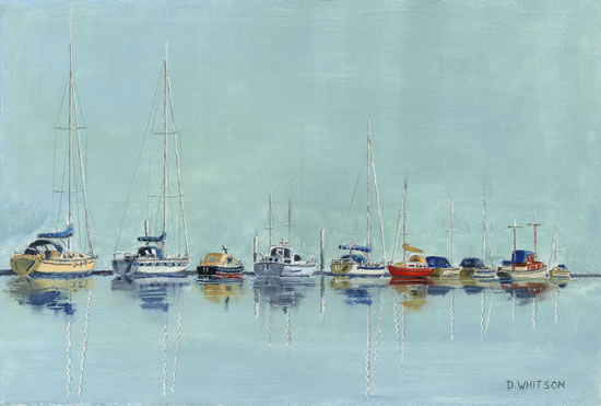 Moored Boats on River Mediana Isle of Wight - Fine Art Prints - Sailing Art Gallery