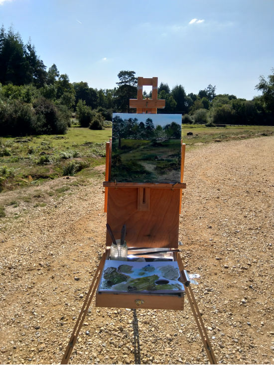 Painting en-plein air - Linwood, New Forest - Oil on Board