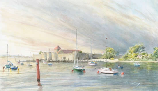 Portchester Castle Fareham Portsmouth Hampshire Art Gallery - Watercolour Painting Prints