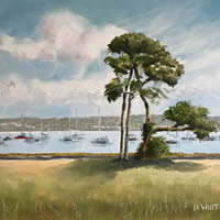 Portsmouth Harbour View With Trees – Landscape Painting – Hampshire Art Gallery – Gosport Artist David Whitson