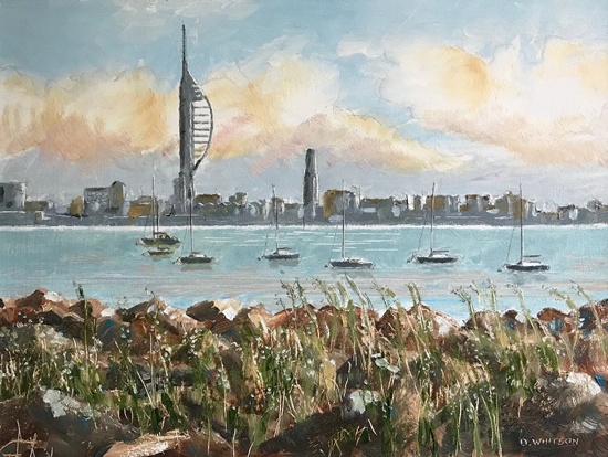 Portsmouth from Gosport Waterfront - Oil Painting and Prints