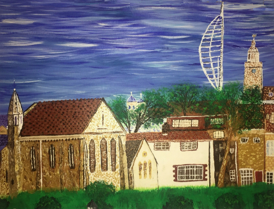Royal Garrison Church, Spinnaker Tower and Portsmouth Cathedral - Petersfield Artist Mahmood Roostaei
