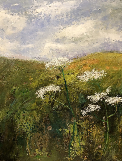 Rural Countryside Winchester Field After the Rain - Landscape Painting - Karen Eames