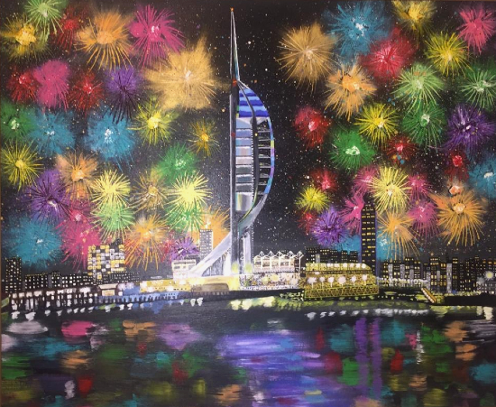 Spinnaker Tower Portsmouth Landmark - Fireworks - Hampshire Artist Mahmood Roostaei