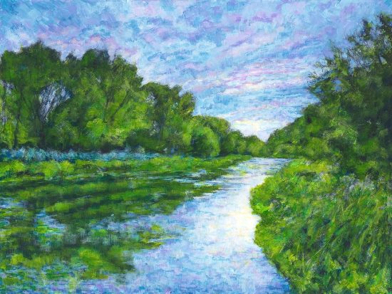 Summer Evening River Itchen - Hampshire - Contemporary Artist Ted Hepenstal