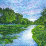 Summer Evening River Itchen – Hampshire – Contemporary Artist Ted Hepenstal