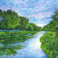 Summer Evening River Itchen Hampshire - Landscape Artist Ted Hepenstal