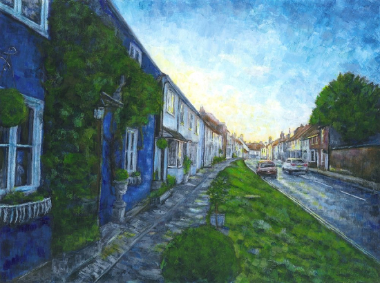 Sunset over East Street, Alresford, Hampshire - Ted Hepenstal Gallery