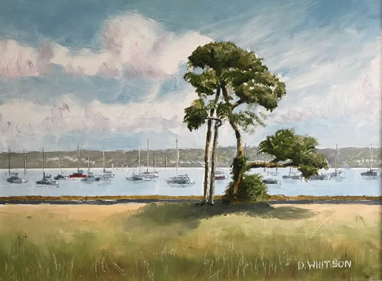 Portsmouth Harbour View With Trees - Landscape Painting - Hampshire Art Gallery - Gosport Artist David Whitson