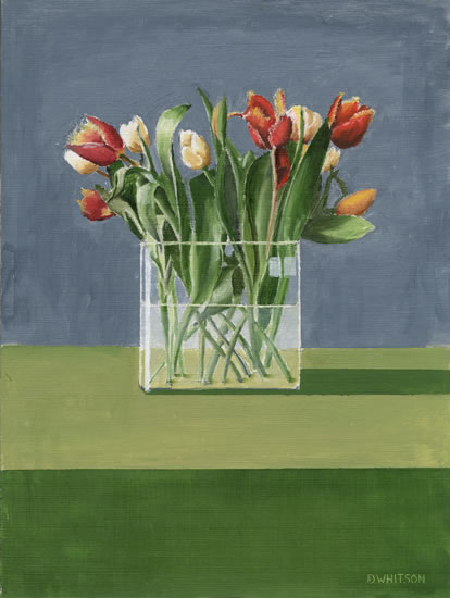 Tulips in Glass Vase - Flowers Art Gallery - Gosport Artist David Whitson