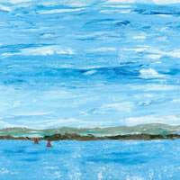 View Of Hampshire South Downs From The Sea Painting - Art Prints