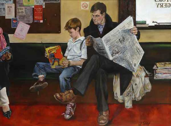 Waiting-Room - Father and Son - Lymington Hampshire Artist William Rochfort