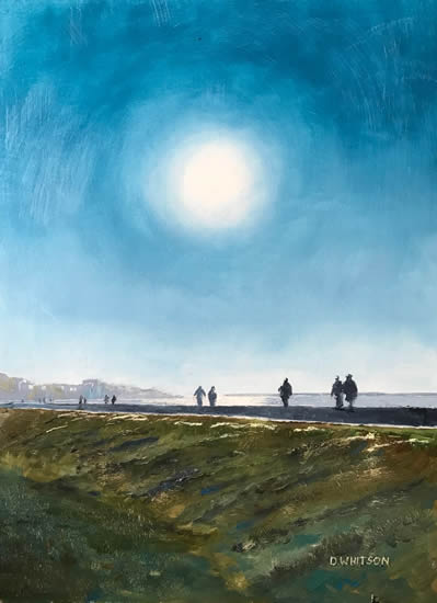 Walkers At Hill Head Beach Fareham - Hampshire Art Gallery - Gosport Artist David Whitson
