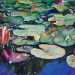 Waterlillies – Lily Pond at Brockley End – Farnham Art Society Artist Nicholas Walsh