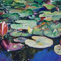 Waterlillies – Lily Pond at Brockley End – Farnham Art Society Artist Nicholas Walsh