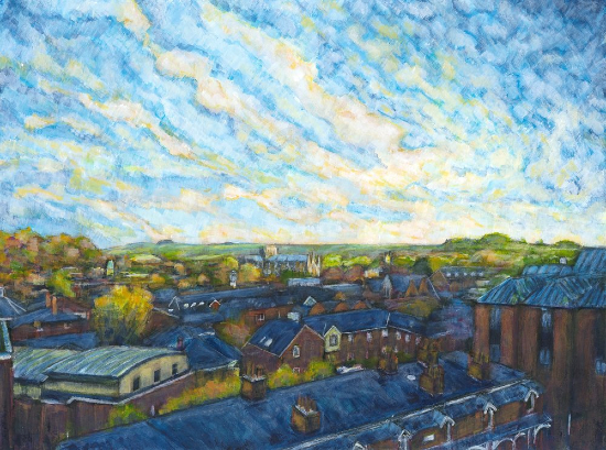 Winchester Rooftops in Autumn - Art Gallery - Landscape Artist Ted Hepenstal