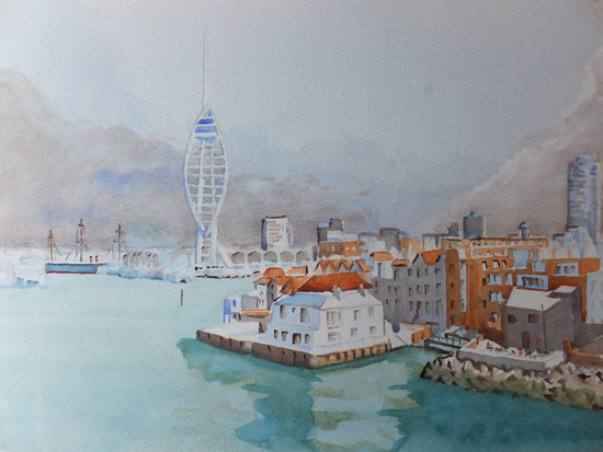 Portsmouth Harbour with Spinnaker Tower - Hampshire Art Gallery