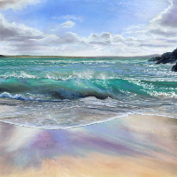 Waves Breaking on Shore – Hampshire Art Gallery – Seascape Artist Jennifer Thorpe