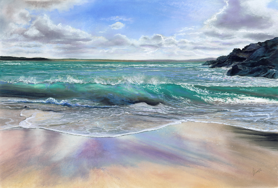 Waves Breaking on Shore - Hampshire Art Gallery - Seascape Artist Jennifer Thorpe