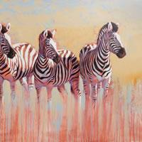 Zebras painting by artist Catherine Ingleby