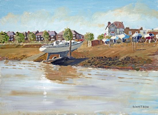 Beached Yacht - Hardway Gosport Hampshire - Fareham Art Group Artist David Whitson - Art Prints