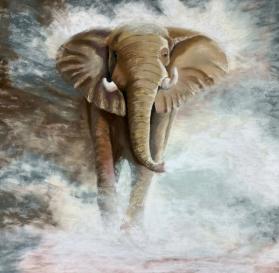 Endangered Elephant - Hampshire Artists Gallery - Wildlife Artist Pauline Scott