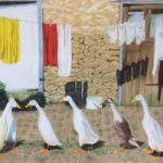 Geese and Washing Line – Society of All Artists member Ringwood Hampshire Artist Pauline Scott – Odd One Out