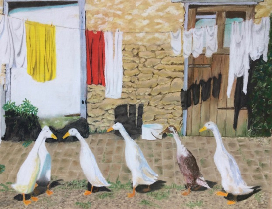Geese and Washing Line - Society of All Artists member Ringwood Hampshire Artist Pauline Scott - Odd One Out