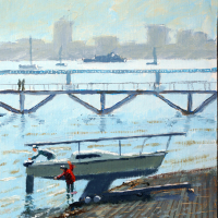 Gosport – Hardway Sailing Club Foreshore – Fareham Art Group Artist David Whitson