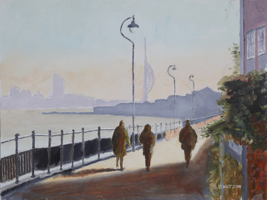 Harbourside Walk Hardway Gosport -Oil Painting by Fareham Art Group Artist David Whitson