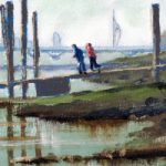 Pontoon –  Portsmouth Harbour – Spinnaker Tower on the horizon – Gosport Art Group Artist David Whitson