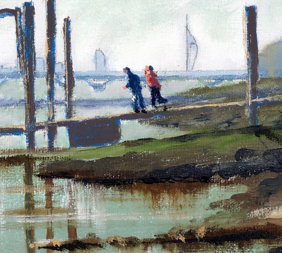 Pontoon - Portsmouth Harbour - Spinnaker Tower on the horizon - Gosport Art Group Artist David Whitson