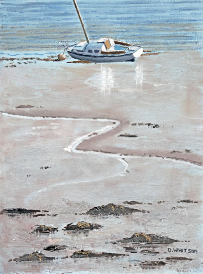 Portsmouth Harbour Art Prints and Painting - Mud-Berth - Boat - David Whitson