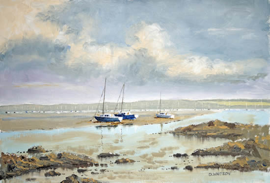 Portsmouth Harbour Looking North from Hardway - Gosport Hampshire Artist David Whitson