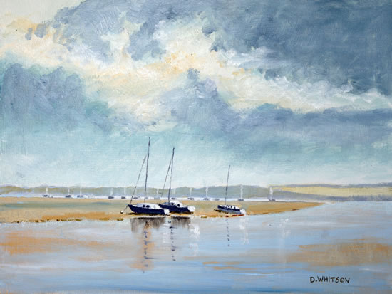 Portsmouth Harbour Towards Portchester - Art Prints - Gosport Seascape and Landscape Artist David Whitson