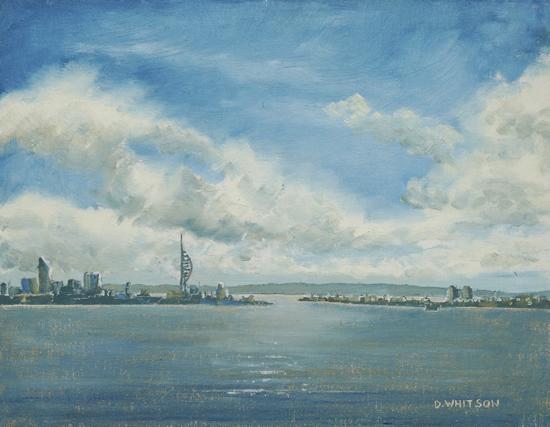 Portsmouth from Portchester Castle - Seascape - Fareham Art Society Artist David Whitson