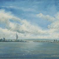 Portsmouth from Portchester Castle – Seascape – Fareham Art Group – Gosport Artist David Whitson