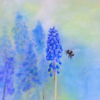 Simply Spring – Grape Hyacinth or Muscari and Bee – Society of All Artists – Pauline Scott – Hampshire Artists Gallery