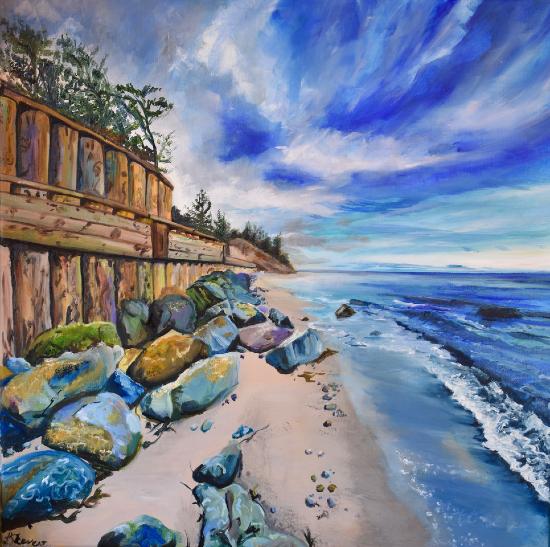 Rocky Beach - Coastal Painting by Warsash Hampshire Artist Lesley Stevens